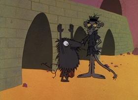Screenshots from the 1965 DePatie Freleng cartoon Pinkfinger