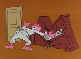 Screenshots from the 1965 DePatie Freleng cartoon The Pink Tail Fly