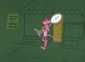 Screenshots from the 1965 DePatie Freleng cartoon An Ounce of Pink