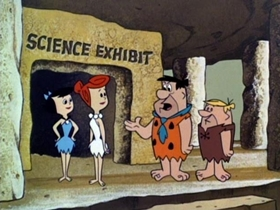 Screenshots from the 1965 Hanna-Barbera cartoon The Time Machine