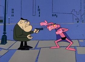 Screenshots from the 1966 DePatie Freleng cartoon Super Pink