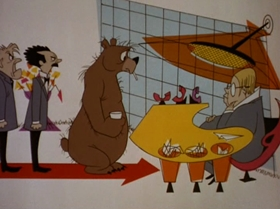Screenshots from the 1967 MGM cartoon The Bear That Wasn