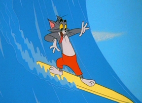 Screenshots from the 1967 MGM cartoon Surf-Bored Cat