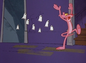Screenshots from the 1967 DePatie Freleng cartoon Pink Panic