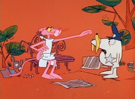 Screenshots from the 1967 DePatie Freleng cartoon Pink of the Litter
