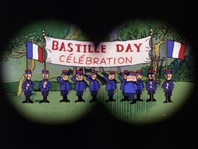 Screenshots from the 1967 DePatie Freleng cartoon Le Quiet Squad