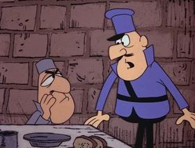 Screenshots from the 1967 DePatie Freleng cartoon Le Cop on Le Rocks