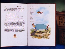 Screenshots from the 1968 Disney cartoon Winnie the Pooh and the Blustery Day