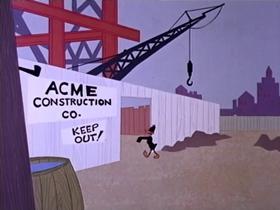 Screenshots from the 1968 Warner Brothers cartoon Skyscraper Caper