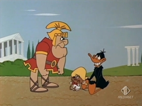 Screenshots from the 1968 Warner Brothers cartoon See Ya Later Gladiator