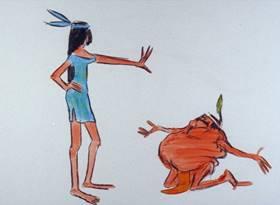 Screenshots from the 1968 Warner Bros. cartoon The Door