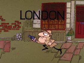 Screenshots from the 1968 DePatie Freleng cartoon London Derriere