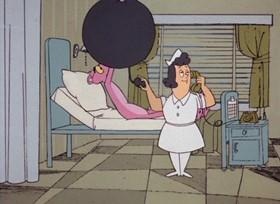 Screenshots from the 1968 DePatie Freleng cartoon The Pink Pill