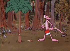 Screenshots from the 1968 DePatie Freleng cartoon Pink is a Many Splintered Thing