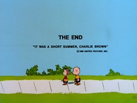 Screenshots from the 1969 Bill Melendez Productions cartoon It Was a Short Summer, Charlie Brown