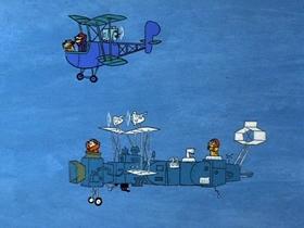 Screenshots from the 1969 Hanna-Barbera cartoon Ceiling Zero Zero
