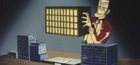 Screenshots from the 1969 TMS Entertainment cartoon Lupin III: Pilot Film