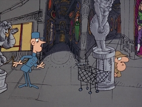 Screenshots from the 1969 DePatie Freleng cartoon Carte Blanched