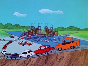 Screenshots from the 1970 DePatie Freleng cartoon Bridgework
