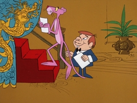Screenshots from the 1971 DePatie Freleng cartoon Gong with the Pink