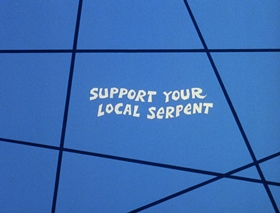 Screenshots from the 1972 DePatie Freleng cartoon Support Your Local Serpent