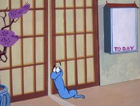 Screenshots from the 1972 DePatie Freleng cartoon Blue Racer Blues