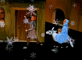 Screenshots from the 1974 National Film Board of Canada cartoon The Story of Christmas