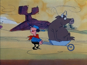 Screenshots from the 1974 DePatie Freleng cartoon Big Beef at the O.K. Corral