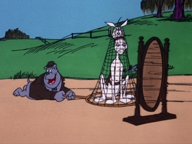 Screenshots from the 1975 DePatie Freleng cartoon From Nags to Riches