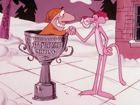 Screenshots from the 1975 DePatie Freleng cartoon Pink Streaker