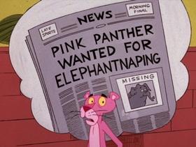 Screenshots from the 1975 DePatie Freleng cartoon Pink Elephant