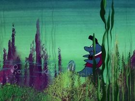 Screenshots from the 1976 DePatie Freleng cartoon To Catch a Halibut