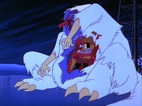 Screenshots from the 1978 Hanna-Barbera cartoon A Scary Night with a Snow Beast Fright