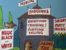 Screenshots from the 1978 DePatie Freleng cartoon Fly By Knight