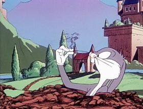 Screenshots from the 1978 Warner Brothers cartoon A Connecticut Rabbit in King Arthur