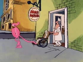 Screenshots from the 1978 DePatie Freleng cartoon PinkTails for Two
