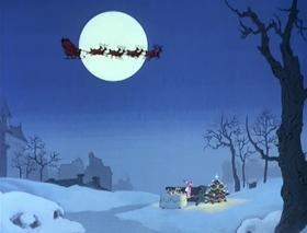 "Screenshots from the 1978 DePatie Freleng cartoon Pink Panther in ""A Pink Christmas"""