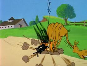 Screenshots from the 1980 Warner Bros. cartoon Daffy Flies North