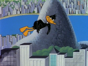 Screenshots from the 1980 Warner Brothers cartoon Daffy Flies North