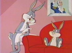 Screenshots from the 1981 Warner Brothers cartoon Bugs Bunny: All American Hero