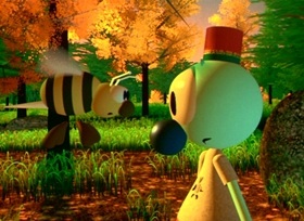 Screenshots from the 1984 Pixar cartoon The Adventures of André and Wally B.