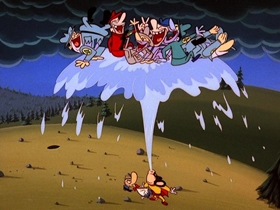 Screenshots from the 1987 Bakshi Animation cartoon The Ice Goose Cometh