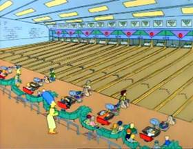 Screenshots from the 1990 Gracie Films cartoon Life on the Fast Lane