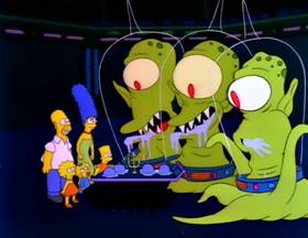 Screenshots from the 1990 Gracie Films cartoon Treehouse of Horror