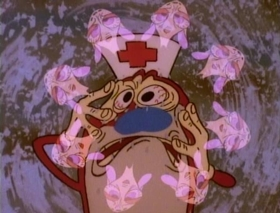 Screenshots from the 1991 Spumco cartoon Nurse Stimpy