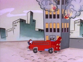 Screenshots from the 1991 Spumco cartoon Fire Dogs