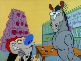 Screenshots from the 1991 Spumco cartoon The Big Shot