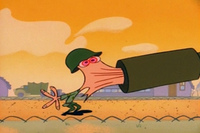 Screenshots from the 1992 Spumco cartoon In the Army