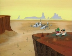 Screenshots from the 1992 Spumco cartoon Out West