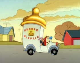 Screenshots from the 1992 Spumco cartoon Rubber Nipple Salesmen